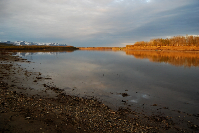 The banks of the Kuskokwim River at sunset