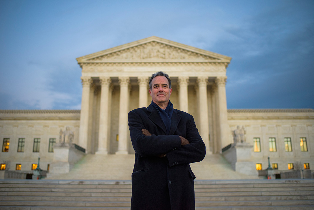 Attorney Jim Pew, at the U.S. Supreme Court building in the spring of 2015.