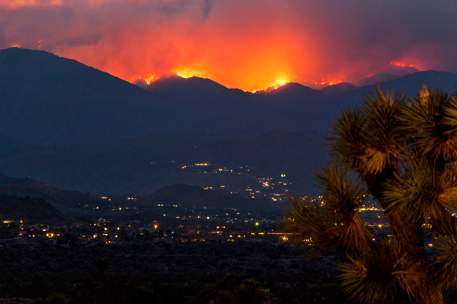 Fire and smoke from the June 2015 Lake Fire above Yucca Valley, California.