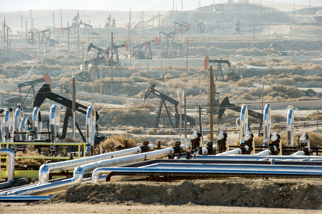 An oil field in Kern County, California.