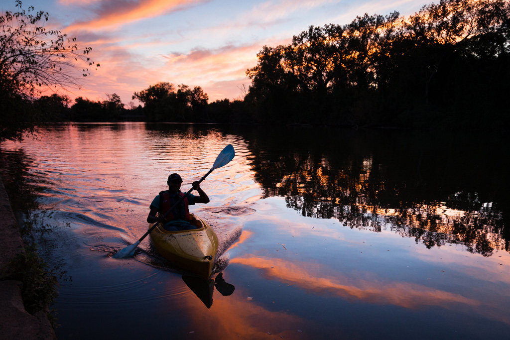 A kayaker from the Anacostia Watershed Society at Kenilworth Park in Washington, D.C.