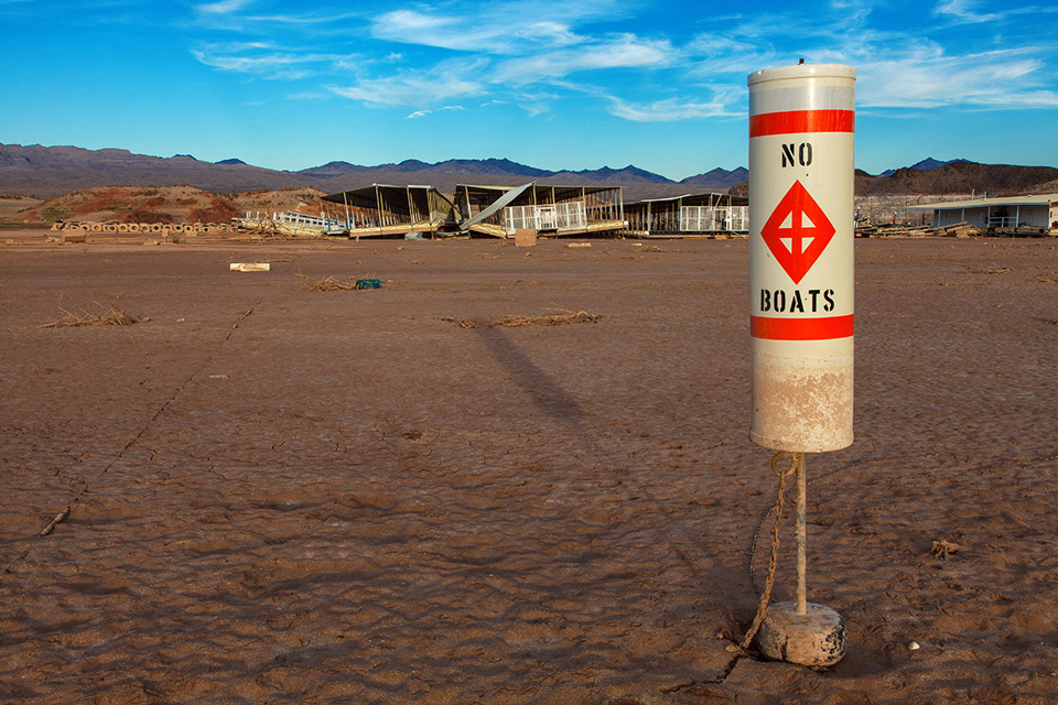 The effects of the drought on Echo Bay Marina at the Lake Mead Recreation Area.