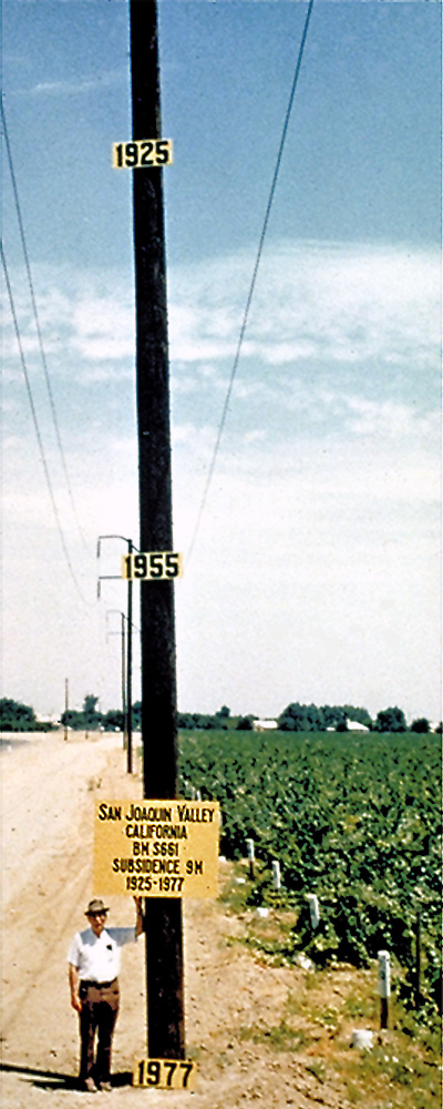 Dr. Joseph F. Poland (pictured) shows the approximate location of maximum subsidence in the San Joaquin Valley, California. Signs on pole show approximate altitude of land surface in 1925, 1955, and 1977.