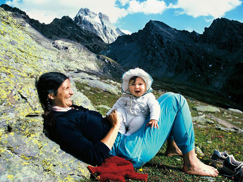 Arlene Blum on a hike with her daughter.