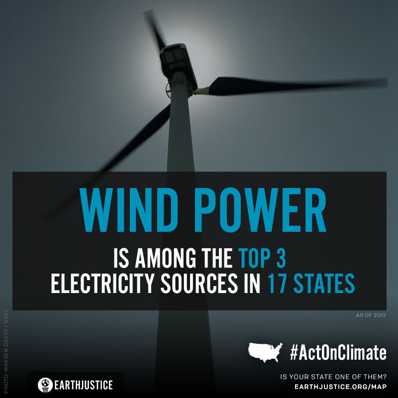 Wind power is among the top 3 electricity sources in 17 states as of 2012.