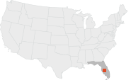 Location of Mulberry, Florida.