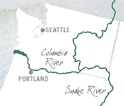Location of the Columbia and Snake Rivers.