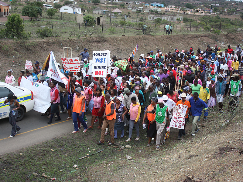 March to the tribal office at Somkhele on 14 March 2016.