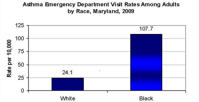 Asthma Emergency Department Visit Rates Among Adults by Race, Maryland, 2009.