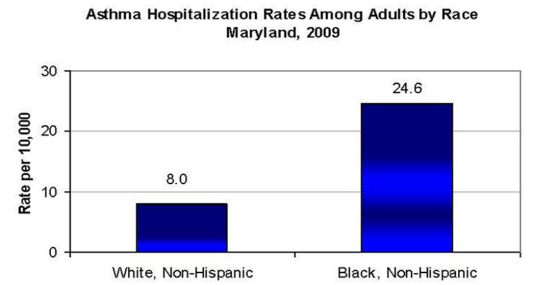 Asthma Hospitalization Rates Among Adults by Race, Maryland, 2009.