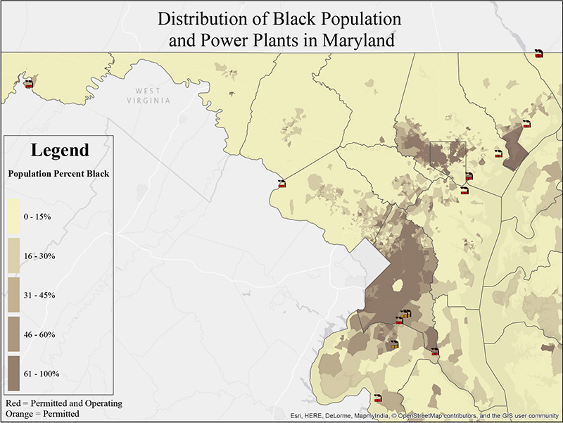 Distribution of Black Population and Power Plants in Maryland.