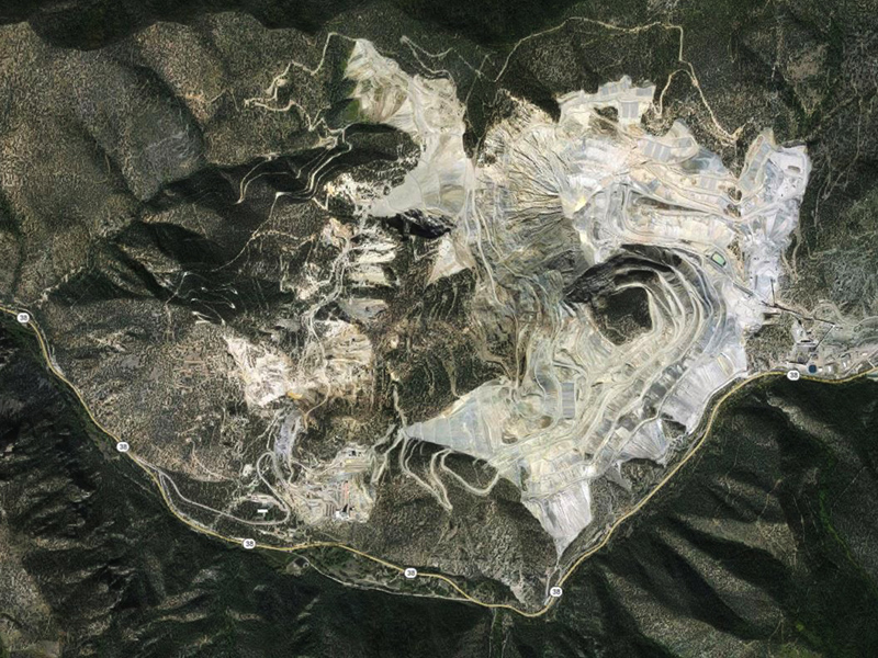 An aerial view of the Molycorp mine between Questa and Red River, New Mexico.
