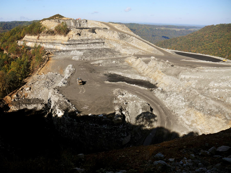 Mountain top removal coal mining in West Virginia.