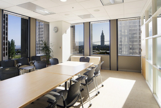 The Bay conference room, with the Ferry Building in view.