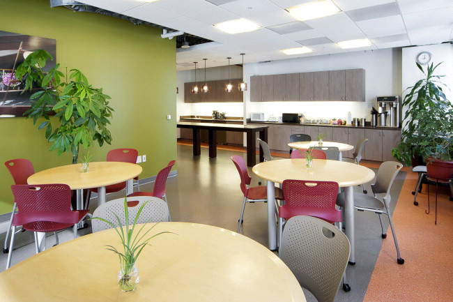 The café area is designed to minimize energy use.