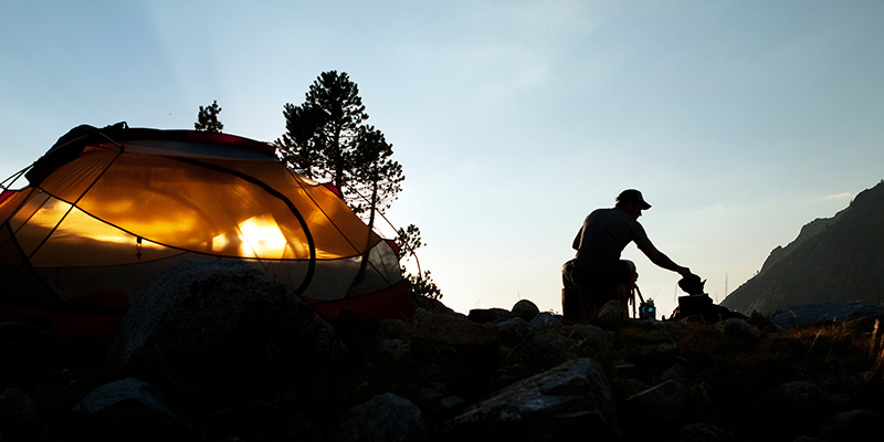 Dusk settles on a camp near Pinto Lake.