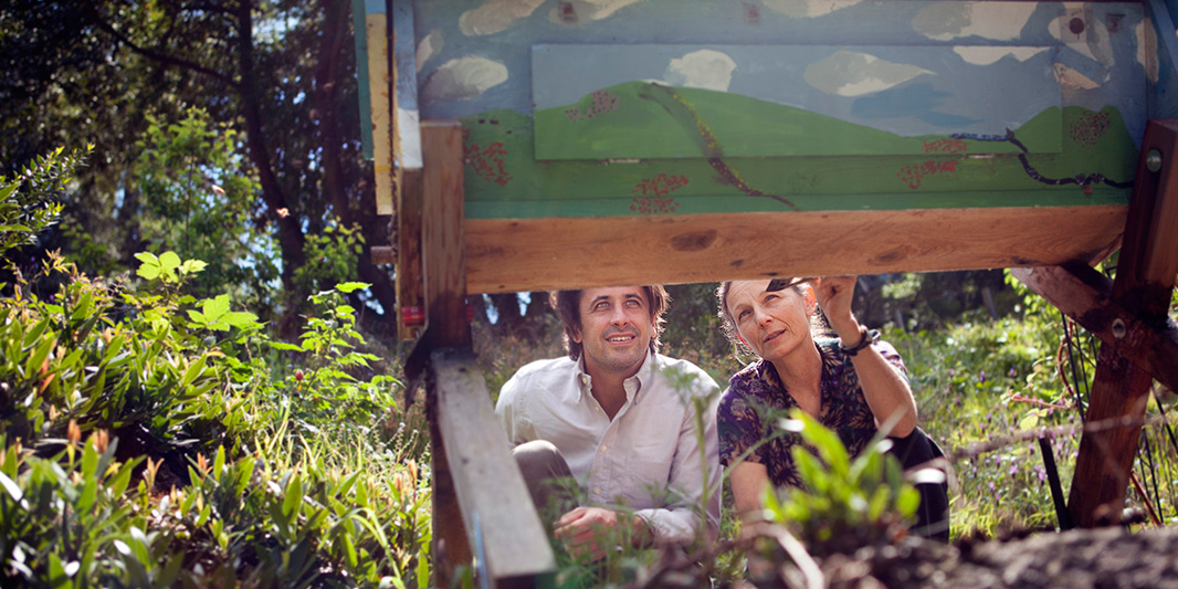 Staff Attorney Greg Loarie examines a bee hive box with pesticide researcher Dr. Susan Kegley in Berkeley, California.