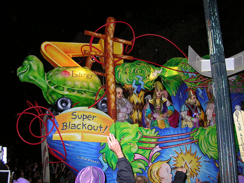 A New Orleans parade float built to protest Entergy's business practices