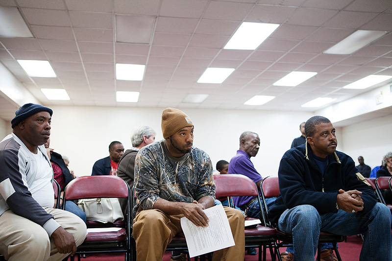 Residents from throughout the area affected by the coal ash listen during a community meeting hosted by the Black Belt Citizens Fighting for Health and Justice.