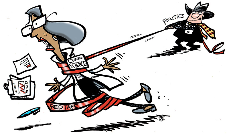 See the cartoon: Lasso Scientists in Red Tape.