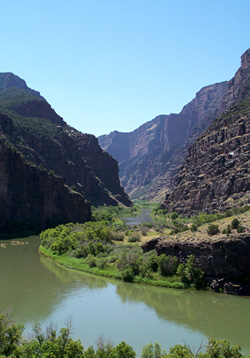 The Gates of Lodore on the Green River,<br>at Dinosaur National Monument. (NPS)