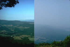 Haze in Shenandoah National Park. Good visibility on the left and poor visibility on the right. (NPS)