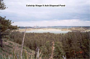 Colstrip ash disposal ponds. (MT DEQ)