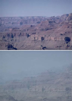 Visibility comparison at Grand Canyon National Park. (NPS)