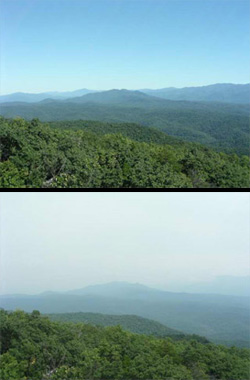 The effects of haze at Great Smoky Mountains National Park. (NPS)