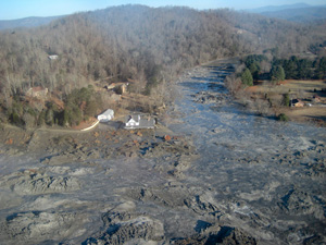 Coal ash spill in Kingston, TN. (TVA)