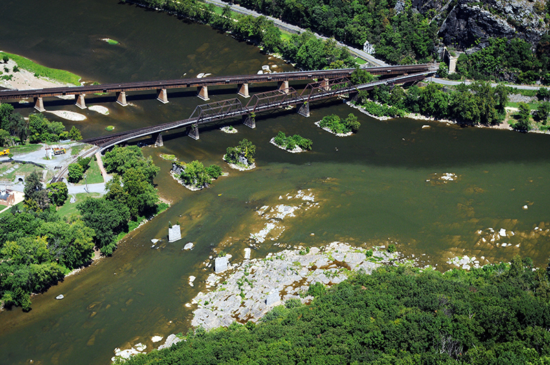 Aerial view of algae covering Shenandoah River at Harpers Ferry.