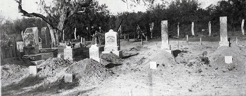 An archival photo from unknown date of the Eli Jackson Cemetery.
