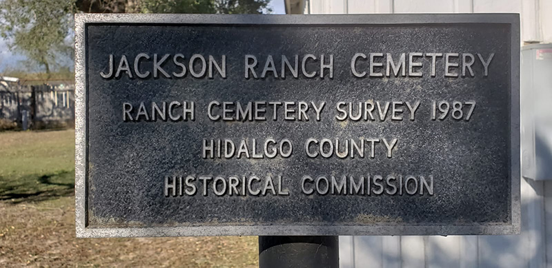 County historical marker at Jackson Ranch Cemetery (located on same property as the church). Note that the church has the Texas Historical marker for this property.