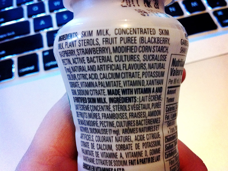 The ingredients list of a food product.