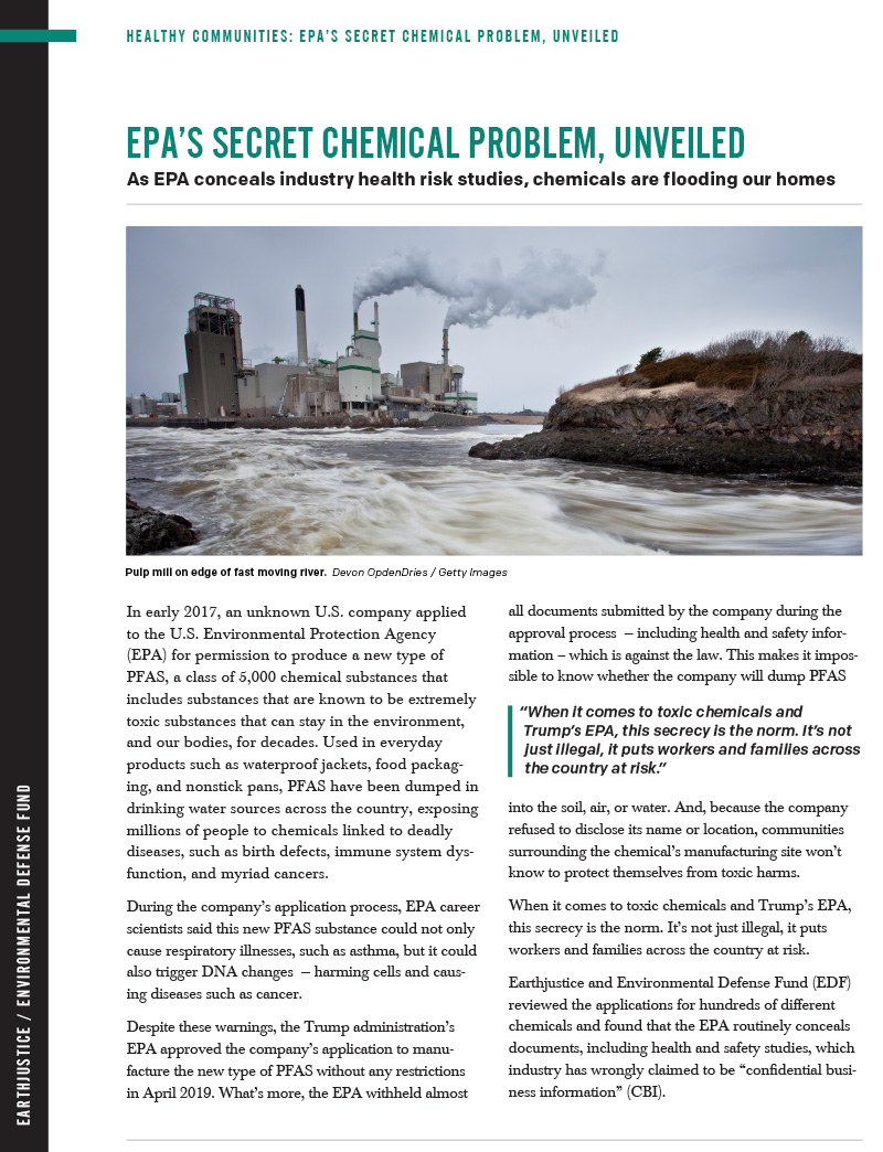 A report showing how Trump's Environmental Protection Agency on a regular basis violates the Toxic Substances Control Act, or TSCA, which governs the manufacture, use, and distribution of chemicals.