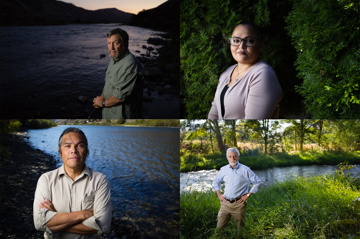 NEPA allowed these individuals to advocate for removing four dams on the lower Snake River to restore wild salmon runs. They are four of the more than 480,000 people who made their voices heard on this issue. Pictured, clockwise from the top left, are former Idaho Fish and Game biologist Steve Pettit, Executive Director of the Nez Perce Tribe Rebecca Miles, Earthjustice attorney Todd True and Nez Perce tribal member Elliott Moffett.