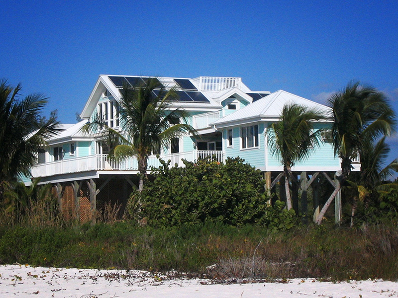 Rooftop solar panels on a beach house in southern Florida.