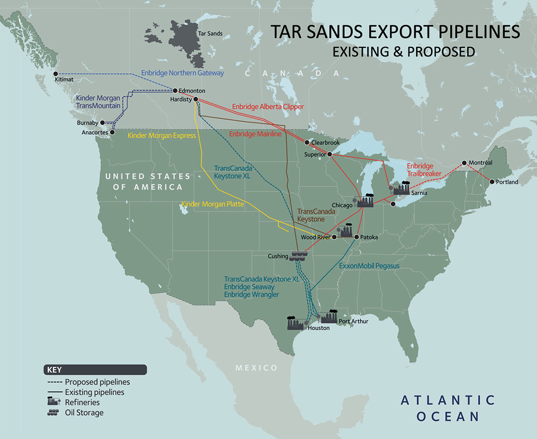 Map of existing and proposed tar sands export pipelines.
