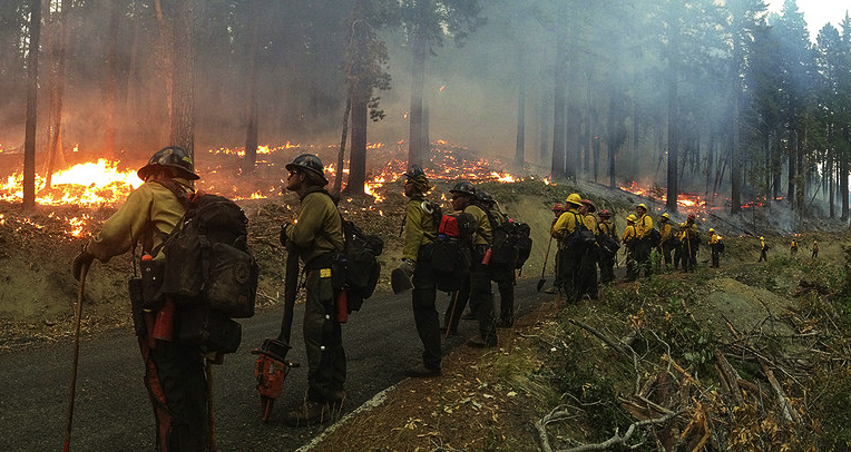 The Geronimo Hotshots monitoring a wildfire in Oregon in 2013.