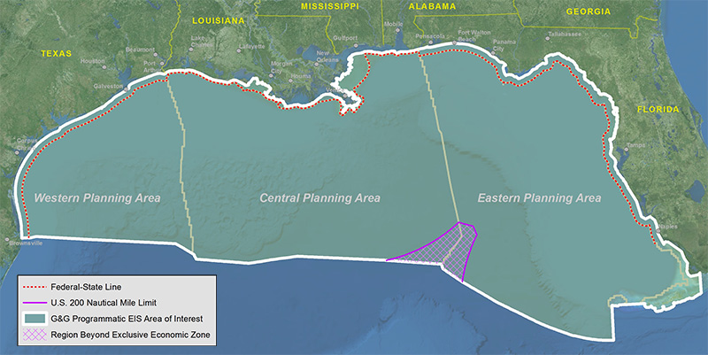 Map of Gulf of Mexico, Outer Continental Shelf. G&G Programmatic EIS, Area of Interest.