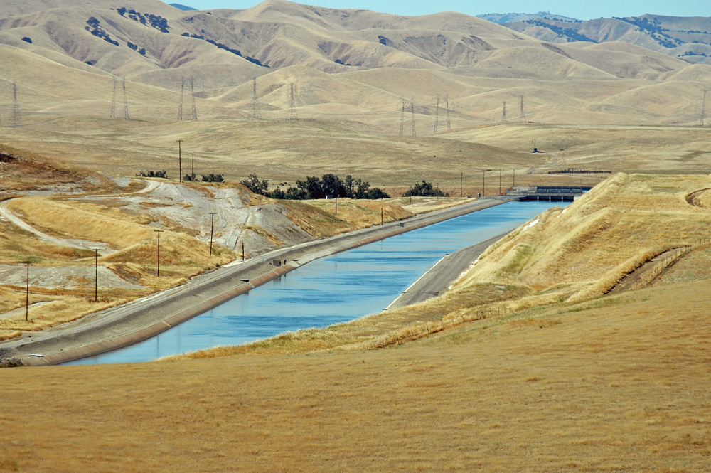 An aqueduct carrying water through California's arid Central Valley.