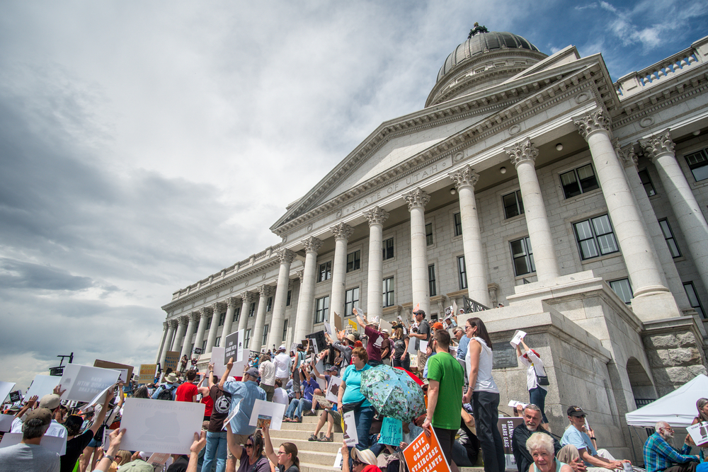 Utahns gathered earlier this year on the steps of the Utah State Capitol Building in support of Bears Ears and Grand Staircase-Escalante National Monuments.