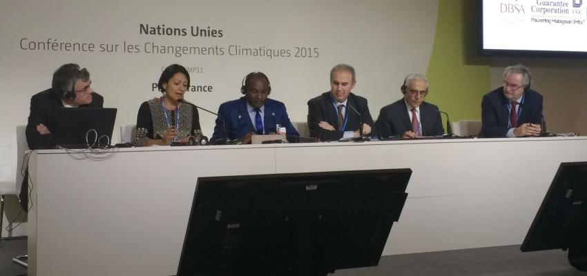 Panel of the COP21 side event titled Mainstreaming Climate Change Within Financial Institutions