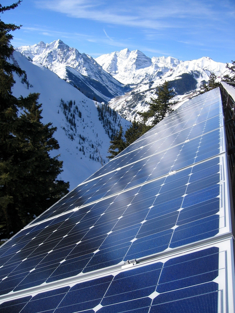 GE solar pannels installed at 11,000 feet on the roof of the Highlands Patrol HQ building at the Aspen Mountain Resort in Aspen, Colorado.