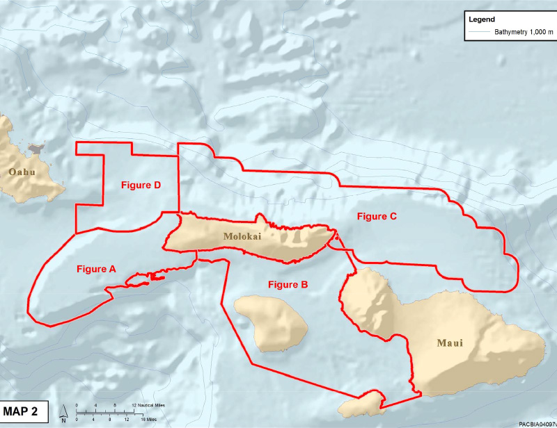 Areas around the Maui 4-Island Complex.