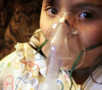 A child suffering from asthma.