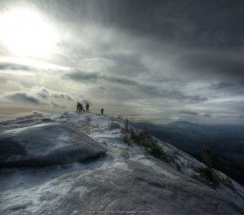 Hikers on the peak of Cascade Mountain in Adirondack Park