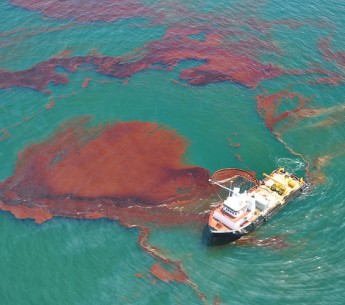 "A ""vessel of opportunity"" skims oil spilled after the Deepwater Horizon well blowout in the Gulf of Mexico in April 2010. A measure on Florida's ballot this fall could help to prevent future spills."