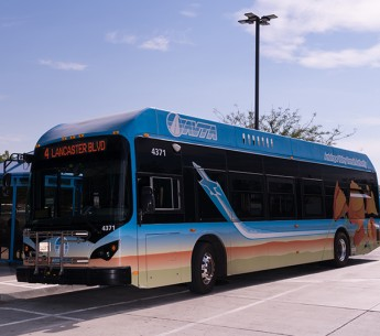 The first zero-emissions electric bus built in Lancaster, Antelope Valley, California, on July 13, 2017, near a BYD factory where thousands of workers build such buses.