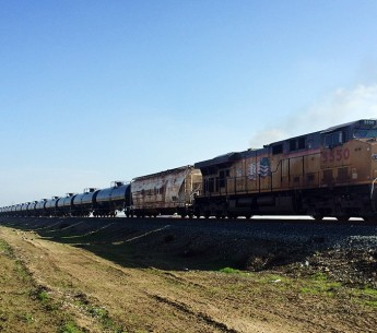 An oil train moves through California's Central Valley.